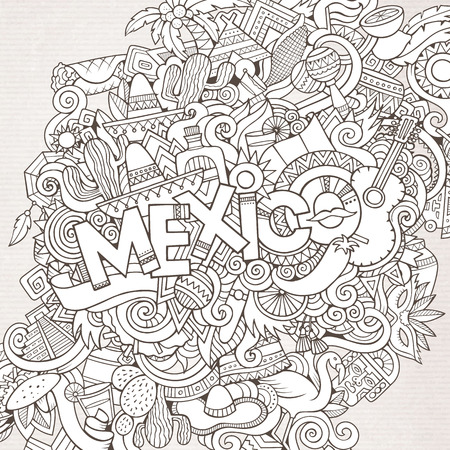 picchu: Mexico country hand lettering and doodles elements and symbols background. Vector hand drawn sketchy illustration