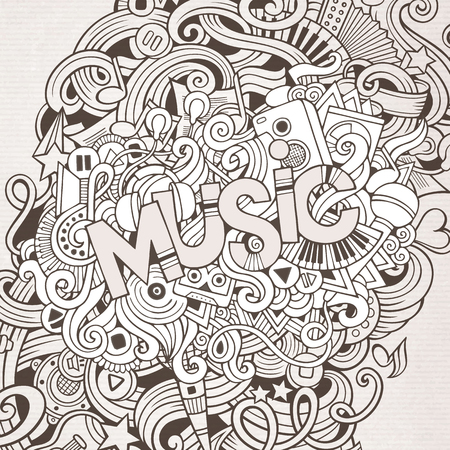rhythm: Music hand lettering and doodles elements background.  Illustration