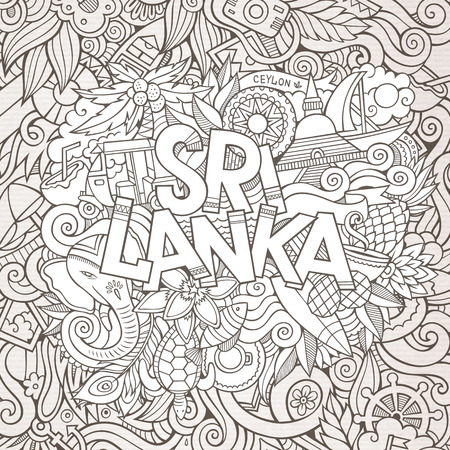 tea plantation: Sri Lanka country hand lettering and doodles elements and symbols background.  hand drawn sketchy illustration Illustration