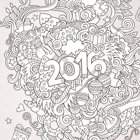 sketchy illustration: 2016 year hand lettering and doodles elements background. Vector sketchy illustration