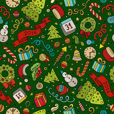 christmas seamless pattern: Cartoon doodles New Year and Christmas seamless pattern Illustration