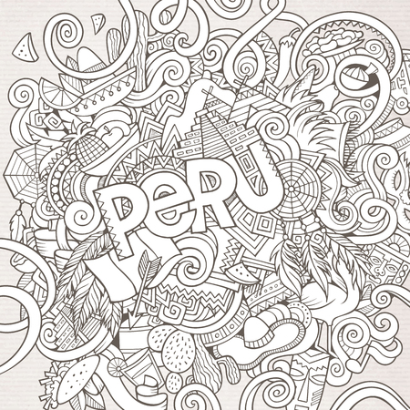 machu picchu: Peru country hand lettering and doodles elements and symbols background. Vector hand drawn sketchy illustration