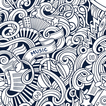 rhythm: Cartoon hand-drawn doodles on the subject of music style theme seamless pattern. Stock Photo