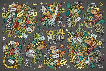 소셜 미디어 주제에 개체 및 기호 손으로 그린 낙서 만화 세트