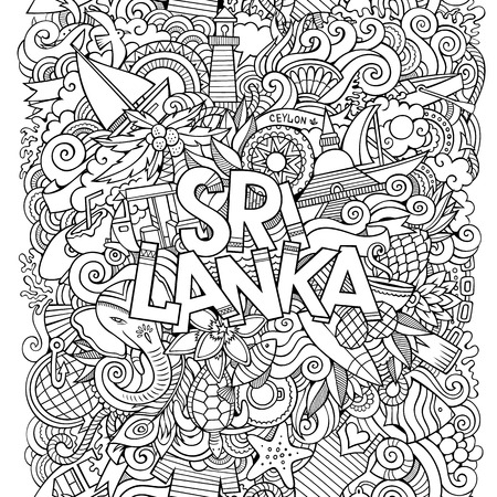 Sri Lanka country hand lettering and doodles elements and symbols background.