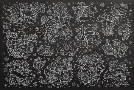 christmas objects: chalkboard hand drawn Doodle cartoon set of objects and symbols on the New Year and Christmas theme