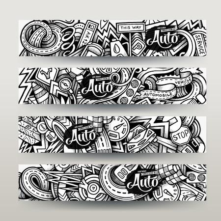mecanico automotriz: Gráficos dibujados a mano traza Doodle incompleto del automóvil. Banderas horizontales establecen plantillas de diseño