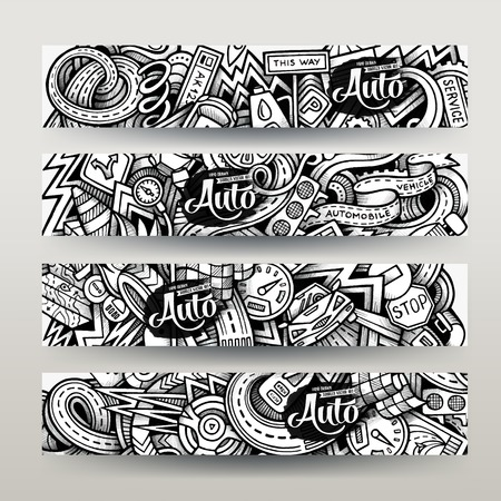 traffic rules: Graphics hand-drawn sketchy trace Automotive Doodle. Horizontal banners design templates set Illustration