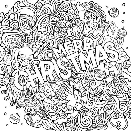 sketchy illustration: Merry Christmas hand lettering and doodles elements background. sketchy illustration