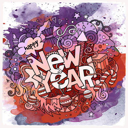 fonts year: New Year hand lettering and doodles elements watercolor background. illustration