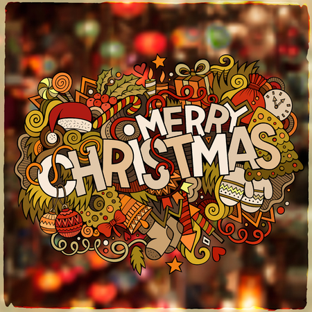 merry: Merry Christmas hand lettering and doodles elements illustration. Blurred background.