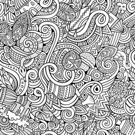 doodles cartoon op het onderwerp van Afrika stijl thema naadloos patroon. achtergrond Line art