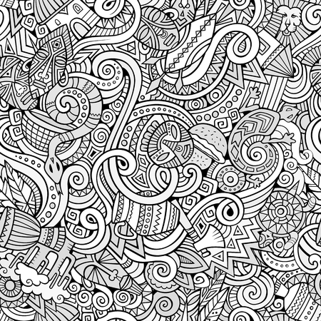 Cartoon doodles on the subject of Africa style theme seamless pattern. Line art background Illustration