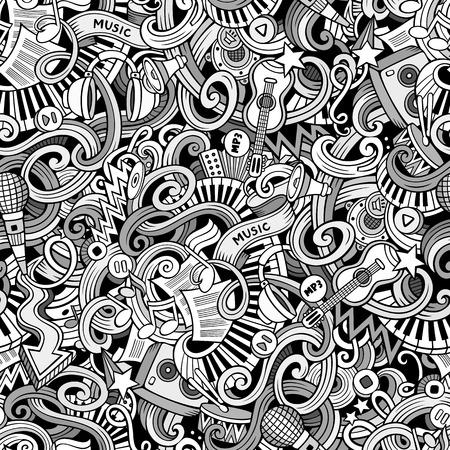 Cartoon  doodles on the subject of music style theme seamless pattern. line art background 일러스트
