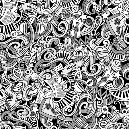 Cartoon  doodles on the subject of music style theme seamless pattern. line art background Illustration