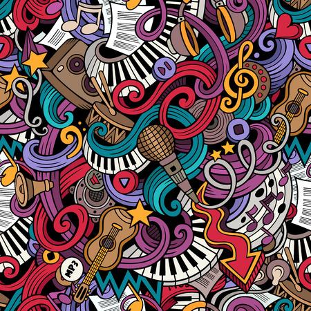 음악 스타일 테마 원활한 패턴의 주제에 만화 두들 스. 벡터 색상 배경 일러스트