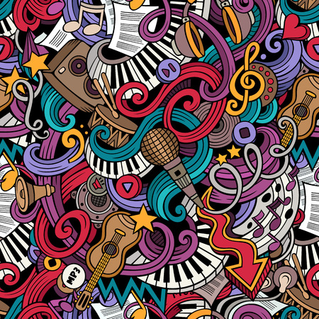 Cartoon  doodles on the subject of music style theme seamless pattern. Vector color background