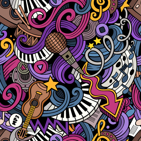 Cartoon  doodles on the subject of music style theme seamless pattern. color background