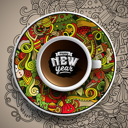 bezel:  illustration with a Cup of coffee and  New Year doodles on a saucer and background Illustration