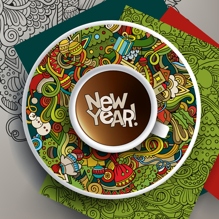bezel:  illustration with a Cup of coffee and New Year doodles on a saucer and background