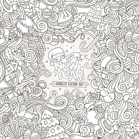 Nieuwjaar doodles elementen frame achtergrond. schetsmatige illustratie Stock Illustratie