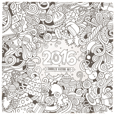 sketchy illustration: New Year doodles elements frame background. sketchy illustration Illustration