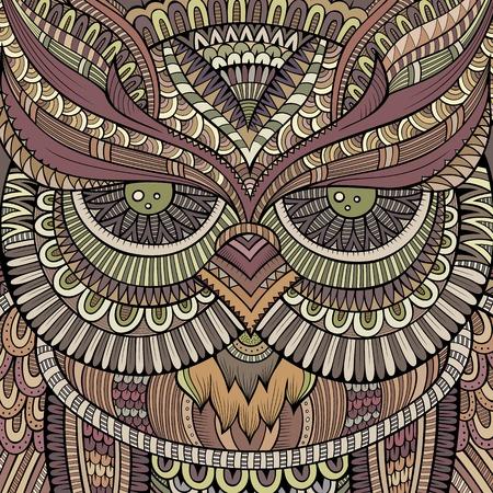 arte moderno: Cabeza ornamental abstracto decorativo búho. Vectores