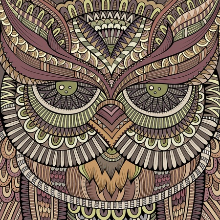 line art: Decorative abstract ornamental Owl head.  Illustration