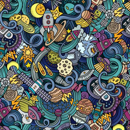 doodles cartoon op het onderwerp van de ruimte stijl thema naadloos patroon. achtergrond
