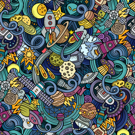 Cartoon  doodles on the subject of space style theme seamless pattern. background