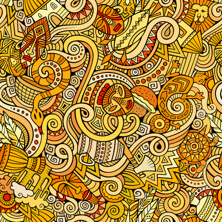 african culture: Cartoon hand-drawn doodles on the subject of Africa style theme seamless pattern. Colorful vector background