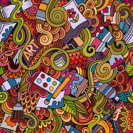 pen cartoon: Cartoon vector doodles hand drawn art and craft seamless pattern Illustration