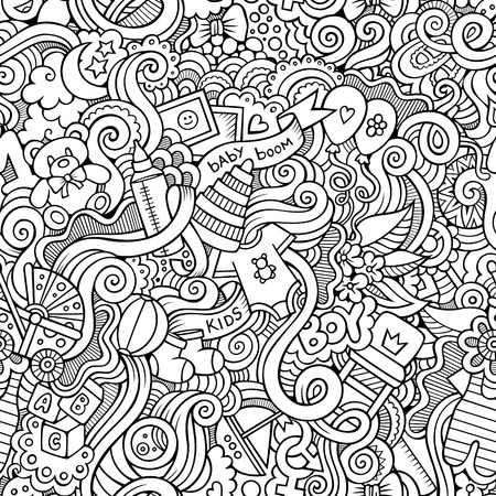 teddy bear cartoon: Cartoon vector doodles hand drawn children seamless pattern