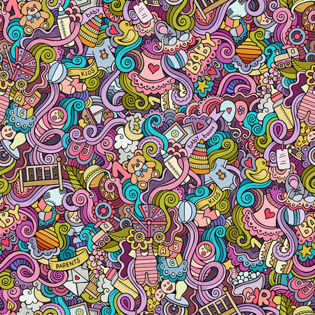 baby bottle: Cartoon vector hand-drawn Doodles on the subject of baby seamless pattern. Colorful background Illustration