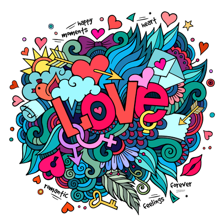 speech bubble: Cartoon vector hand drawn doodle Love illustration. Colorful design background with objects and symbols.