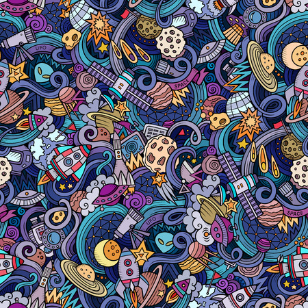 Cartoon hand-drawn doodles on the subject of space style theme seamless pattern. Vector  background Illustration