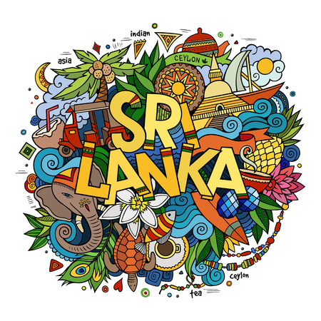 stupa: Sri Lanka hand lettering and doodles elements and symbols background. Vector hand drawn colorful illustration
