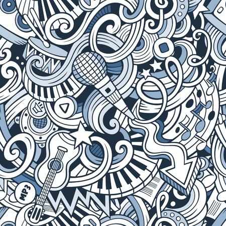 手描き漫画は、音楽スタイルのテーマのシームレスなパターンをテーマにいたずら書き。ライン アートのベクトルの背景