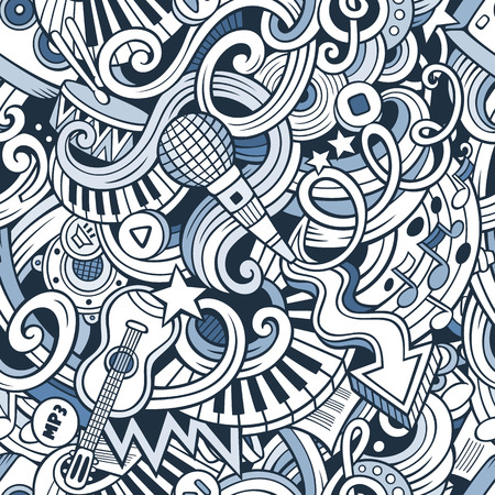 Cartoon hand-drawn doodles on the subject of music style theme seamless pattern. Vector line art background