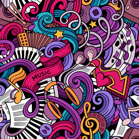手描き漫画は、音楽スタイルのテーマのシームレスなパターンをテーマにいたずら書き。ベクトルの背景の色  イラスト・ベクター素材