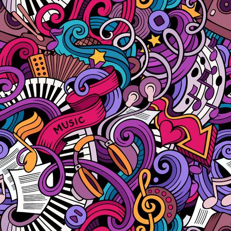 만화 음악 스타일 테마 원활한 패턴의 주제에 낙서를 손으로 그린. 벡터 색 배경