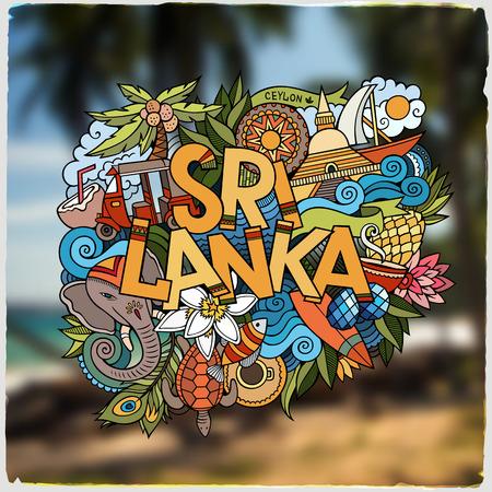 tea plantation: Sri Lanka hand lettering and doodles elements and symbols emblem. Vector blurred background Illustration