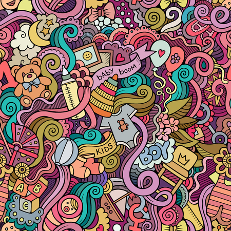 boy feet: Cartoon vector hand-drawn Doodles on the subject of baby seamless pattern. Colorful background Illustration