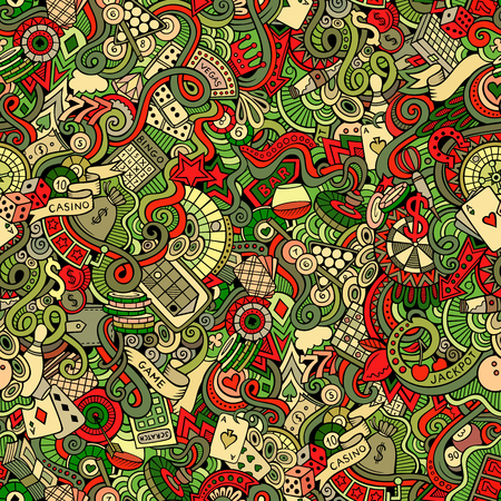 poker hand: Cartoon hand-drawn doodles on the subject of casino style theme seamless pattern. Vector color background