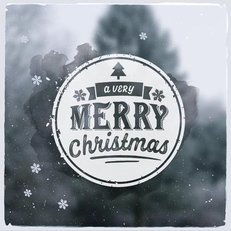 メリー クリスマス創造的なグラフィックのメッセージ冬デザイン。ぼやけのベクトルの背景