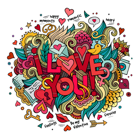 lovely couple: Cartoon vector hand drawn doodle I Love You illustration. Colorful design background with objects and symbols. Illustration