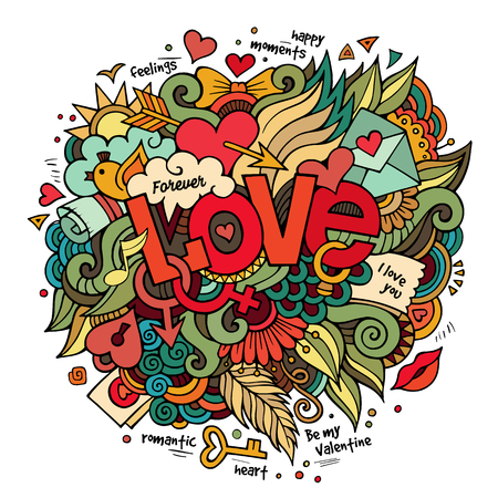 lovely couple: Cartoon vector hand drawn doodle Love illustration. Colorful design background with objects and symbols.