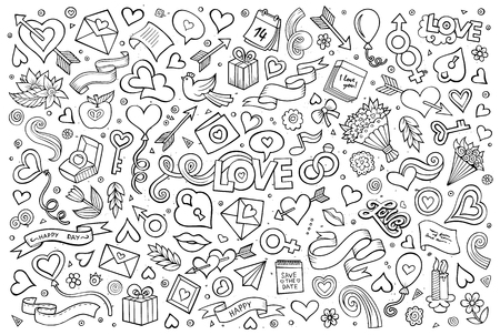 Sketchy vector hand drawn doodles cartoon set of Love and Valentines Day objects and symbols