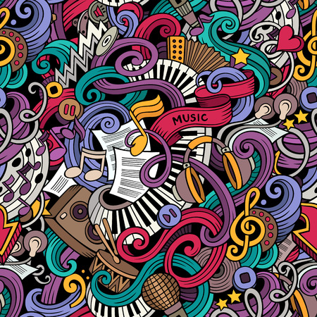 Cartoon hand-drawn doodles on the subject of music style theme seamless pattern. Vector color background