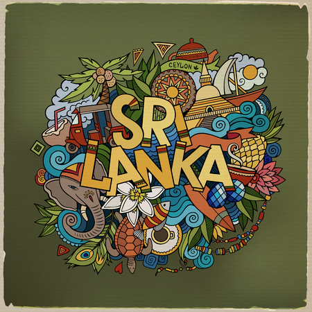 srilanka: Sri Lanka hand lettering and doodles elements and symbols background. Vector hand drawn colorful illustration